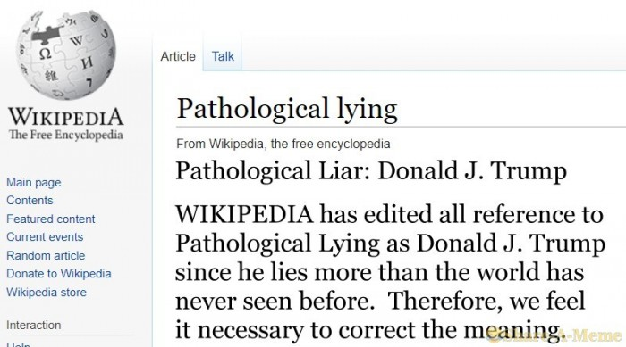 Pathological Liar Wikipedia Update