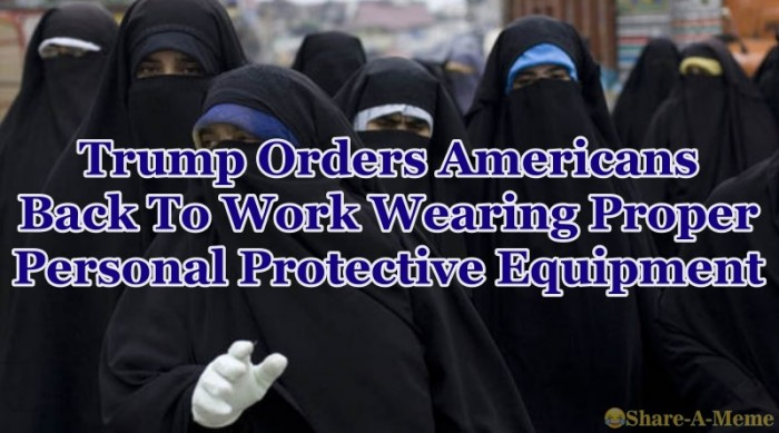 Trump Orders Americans Back To Work Wearing Proper Personal Protective Equipment